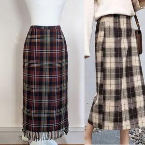 VINTAGE | Tartan Plaid Fringe Wool Maxi Skirt Med